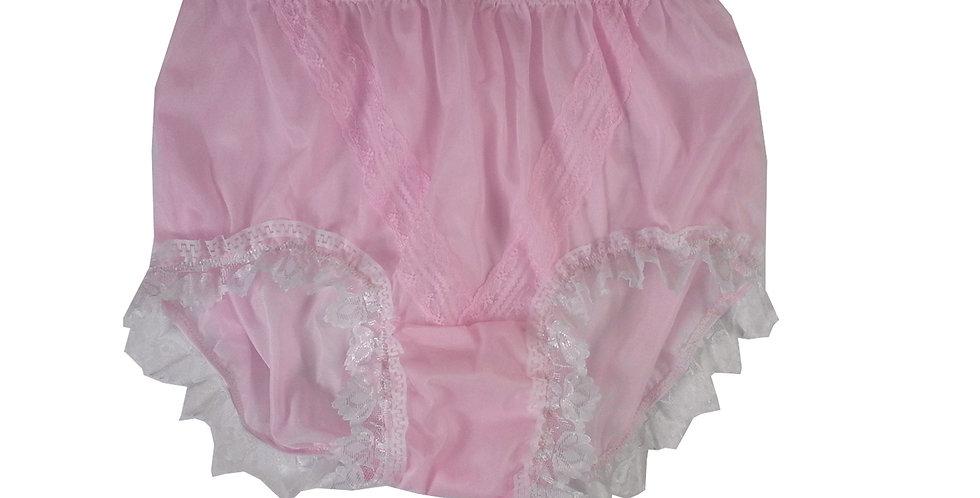 SSH24D05 Pink Handmade Nylon Panties Lace Women Granny Men Briefs
