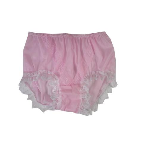 18194f7e921199 SSH24D05 Pink Handmade Nylon Panties Lace Women Granny Men Briefs