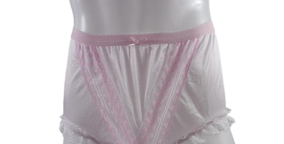 NLH02D13 Pink Panties Granny Lace Briefs Nylon Handmade  Men Woman