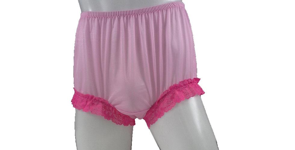 NNH04D18 Pink Handmade Nylon Panties Granny Briefs Lingerie Women Man