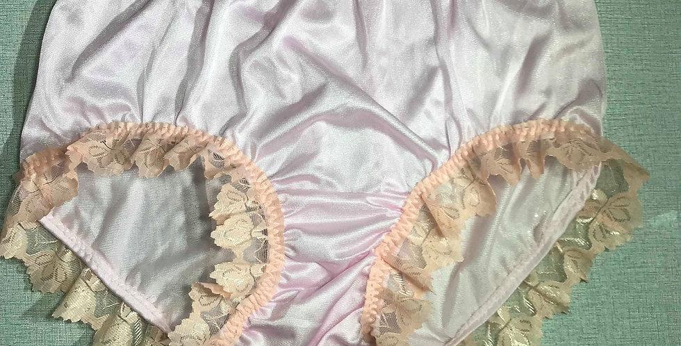 New Fair Orange PlusSize Panties Nylon Brief Men Lacy Handmade Knickers NQRH02