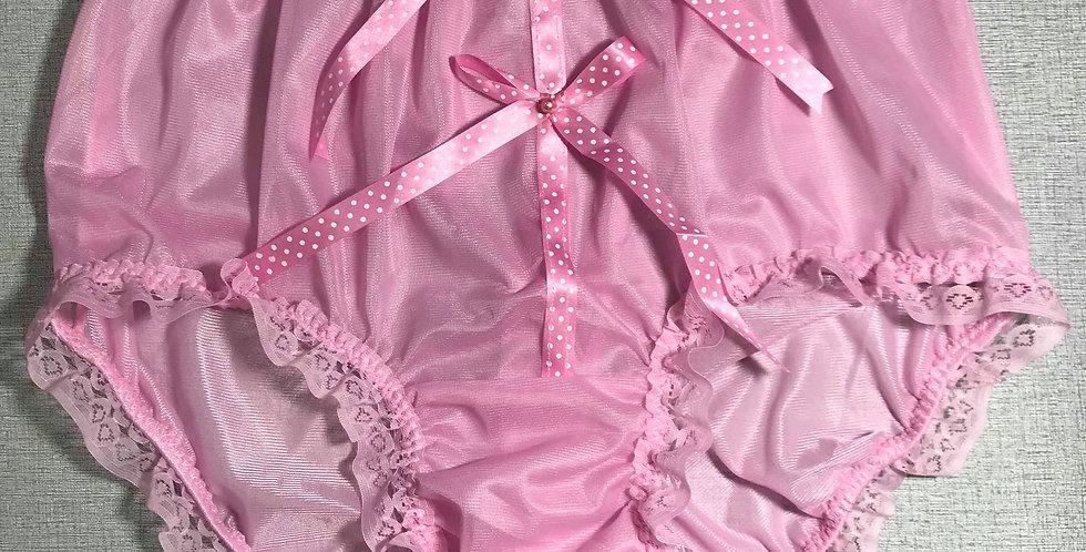New Pink Lingerie Nylon Knickers Panties Briefs Ribbon Lace Men Handmade NRRH10
