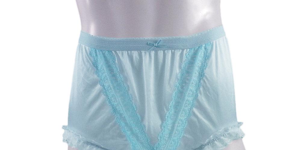 NLH02D14 Blue Panties Granny Lace Briefs Nylon Handmade  Men W
