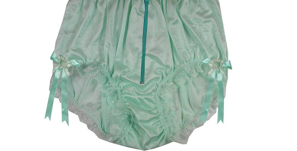 NQH20D05 Green Zipper New Panties Granny Briefs Nylon Handmade Lace Men