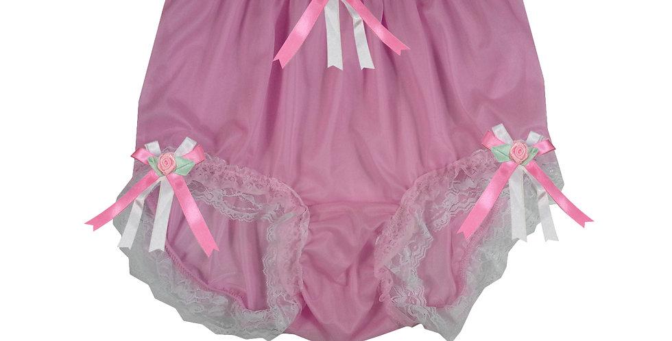 NNH22D52 Pink Handmade Panties Lace Women Men Briefs Nylon Knickers
