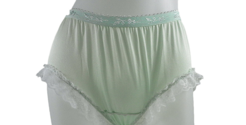 CKH02D02 Green Silky New Nylon Panties Handmade Lace Floral Women Knicker