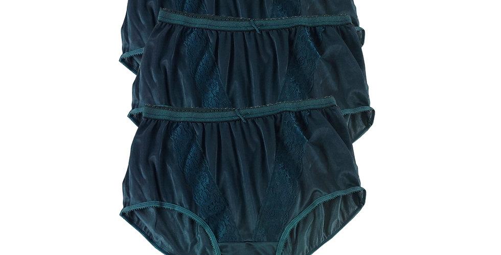 KJT DEEP GREEN Lots 3 pcs Wholesale Panties Granny Lace Briefs Nylon Men Woman
