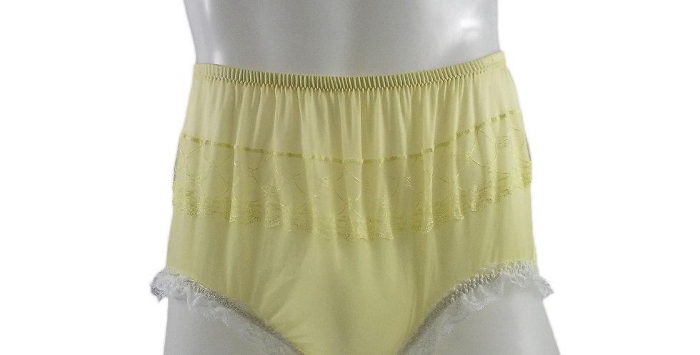 JYH02D04 Yellow Handmade Nylon Panties Women Men Lace Knickers Briefs