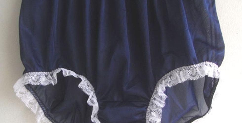 Deep Blue Panties PlusSize Nylon Brief Knickers Handmade Men Tiny Lacy NVOD81