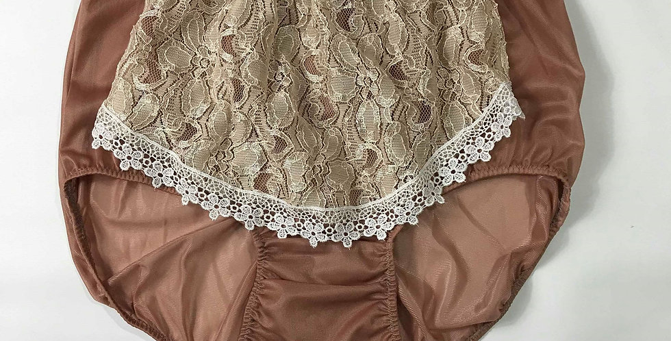 New Fair Brown Vintage Nylon Panties Brief Men Handmade Panel Maid Lacy NH29D06
