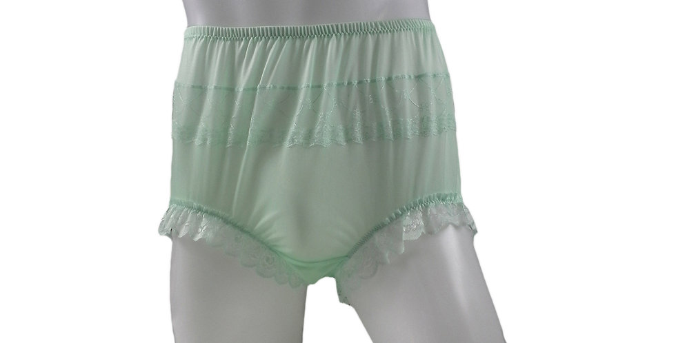 JYH04D02 Fair Green Handmade Nylon Panties Women Men Lace Knickers Briefs