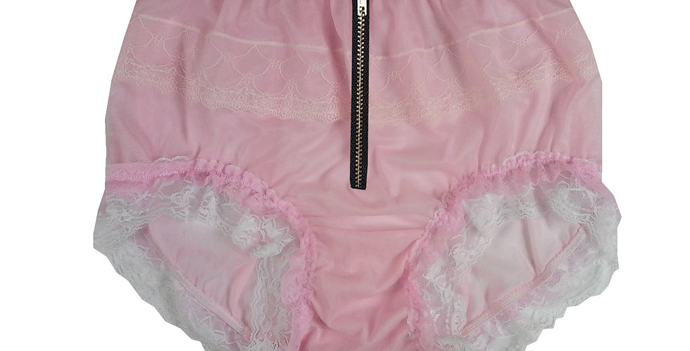 JYH23DI10 Pink Zipper Handmade Nylon Panties Women Men Lace Knickers Briefs