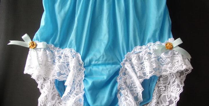 Light Blue Knickers Panties Nylon Brief Handmade Men Ribbon White Lacy NVOD66