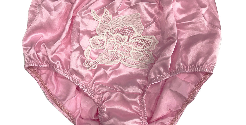 Newly Pink Full Cut Satin Panties Briefs Men Knickers Handmade Floral Lacy STFW