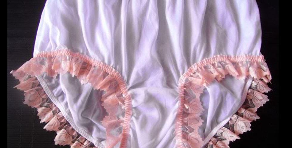 Newly White Panties Full Cut Nylon Brief Knickers Handmade Men Orange Lacy NVOD2