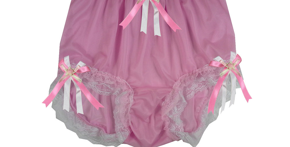 NNH22D51 Pink Handmade Panties Lace Women Men Briefs Nylon Knickers