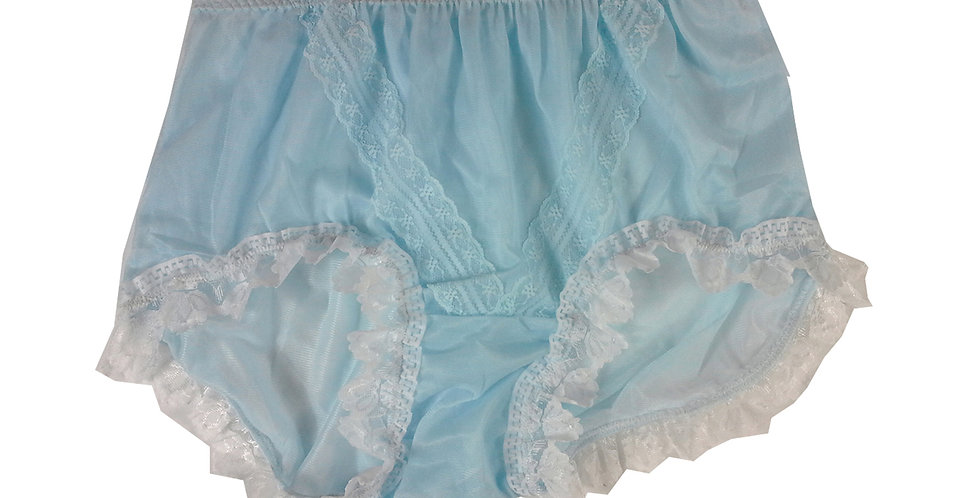 SSH24D04 Blue Handmade Nylon Panties Lace Women Granny Men Briefs