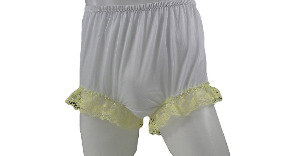 NNH04D01 White Handmade Nylon Panties Granny New Briefs Lingerie Women Men Lace