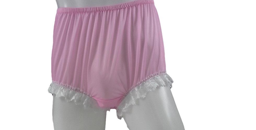 NNH04D03 Pink Handmade Nylon Panties Granny Briefs Lingerie Women Man