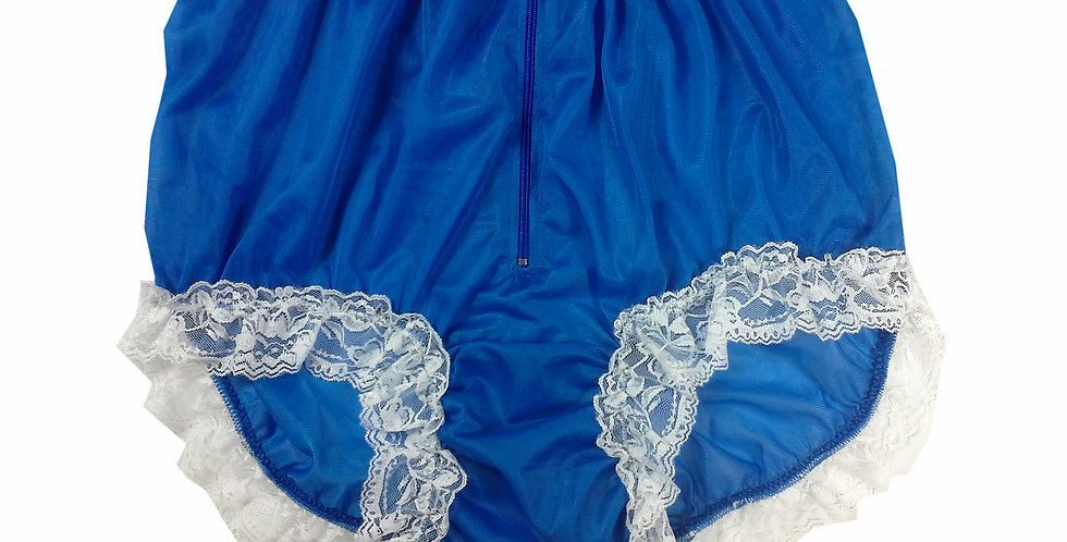 NNH09D03 Royal Blue Handmade Panties Lace Women Men Briefs Nylon Knickers