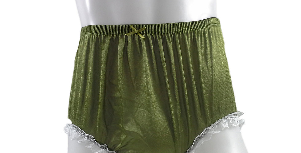 NQH02D18 Olive Green Panties Granny Briefs Nylon Handmade Lace Men Woman