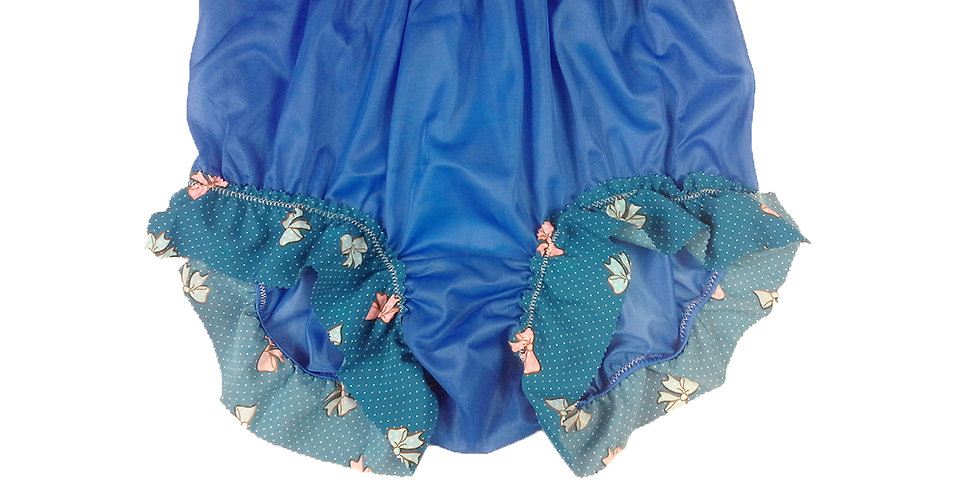 New Royal Blue High Cut Nylon Panties Briefs Men Handmade Cotton Lacy NNH27C03