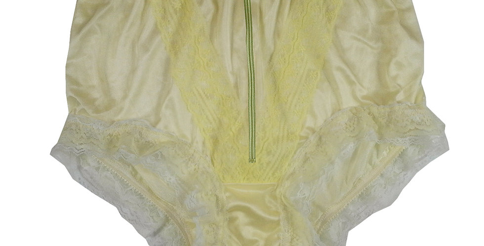 Erotic Panty Yellow Zipper Crotchless Panties Nylon Briefs Knickers Lace Trim
