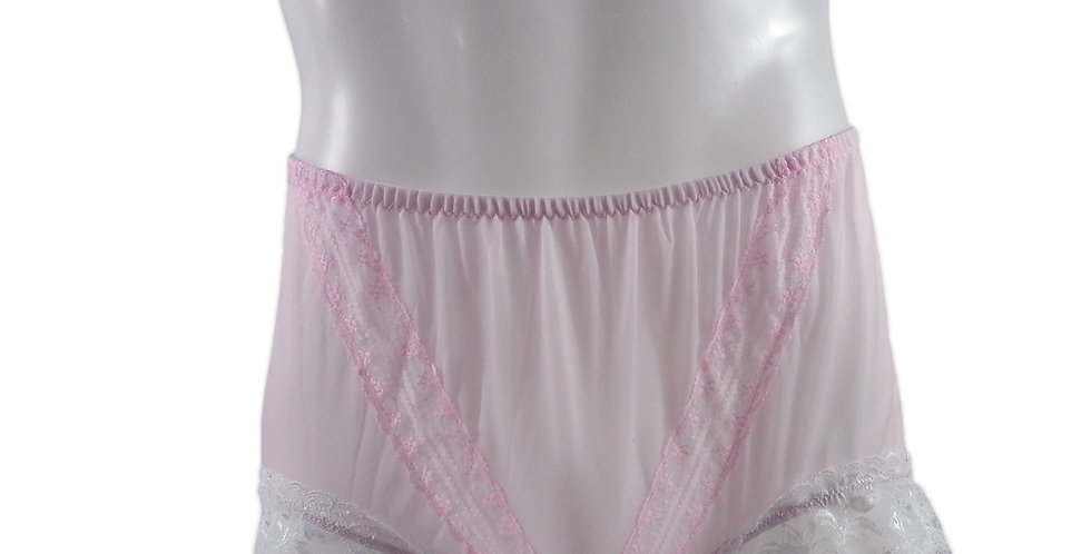 SSH01D06 Fair Pink Handmade Nylon Panties Lace Women Granny Men Briefs