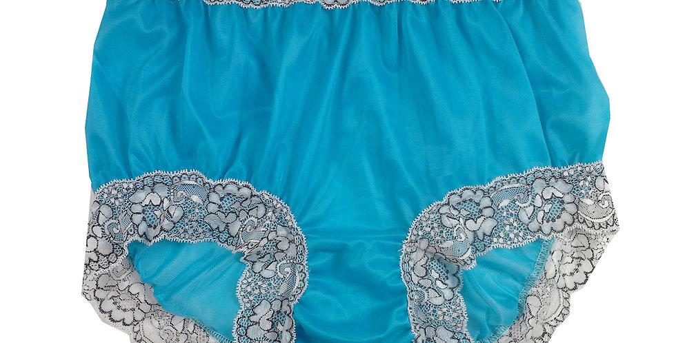New Light Blue Full Cut Nylon Brief Panty Knickers Men Handmade Waist Lacy NH26D