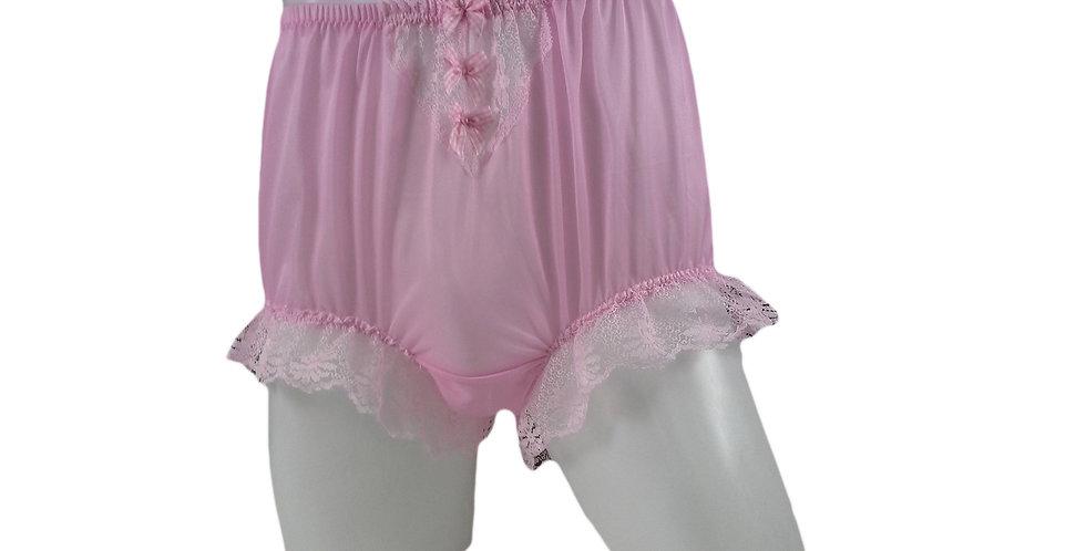 NNH06D07 Pink Handmade Panties Lace Women Men Briefs Nylon Knickers