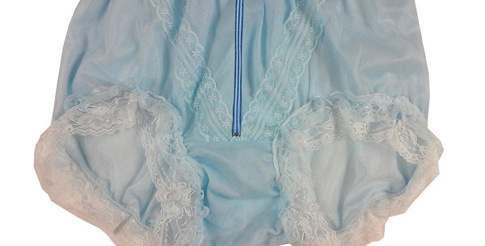 SSH23DP01 Blue Zipper Handmade Nylon Panties Lace Women Granny Men Briefs