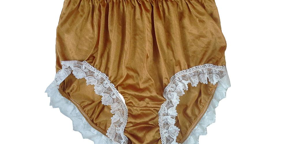 NQH24D14 Yellow Gold New Panties Granny Briefs Nylon Handmade Lace Men