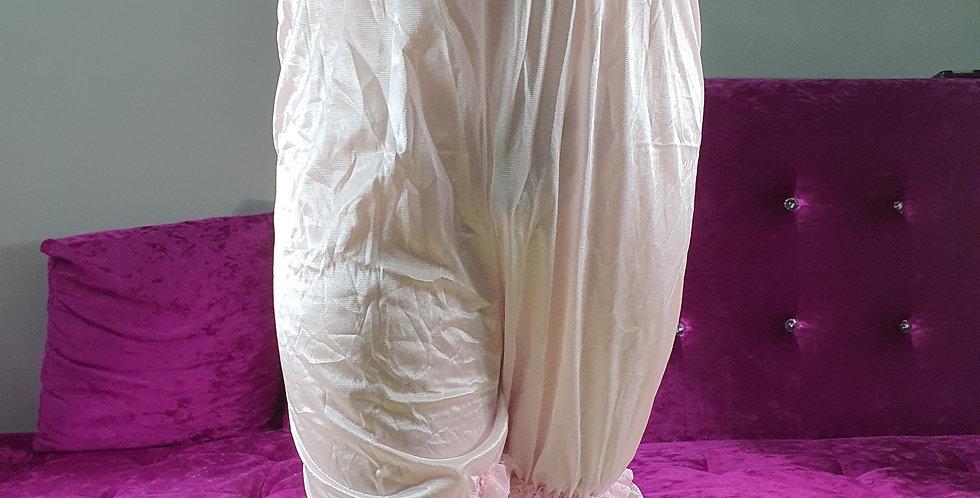 New Pink Pettipants Underwear Men Handmade Lingerie Nylon Slip Waist Lacy NSLR08