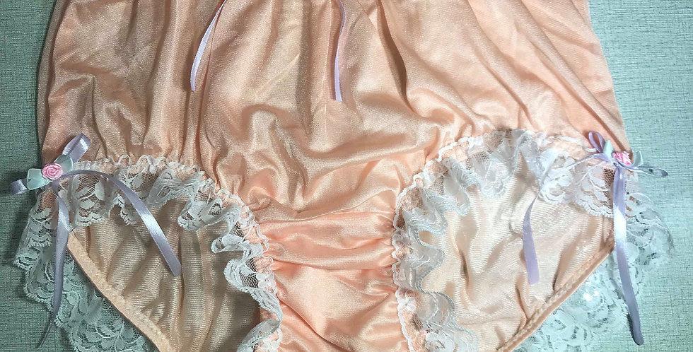 New Fair Orange Pinup Sissy Panties Nylon Brief Men Lacy Ribbon Handmade NQRRH02