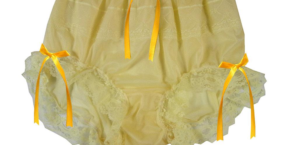 JYH18D11 Yellow Handmade Nylon Panties Women Men Lace Knickers Briefs