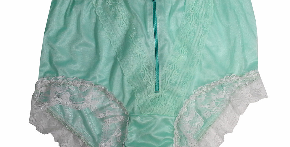 NLH09D03 Green Panties Granny Lace Briefs Nylon Handmade  Men Woman