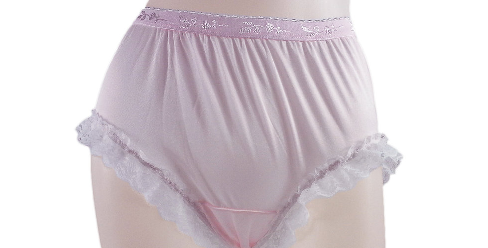 CKH02D04 Fair Pink Silky New Nylon Panties Handmade Lace Floral Women Knickers