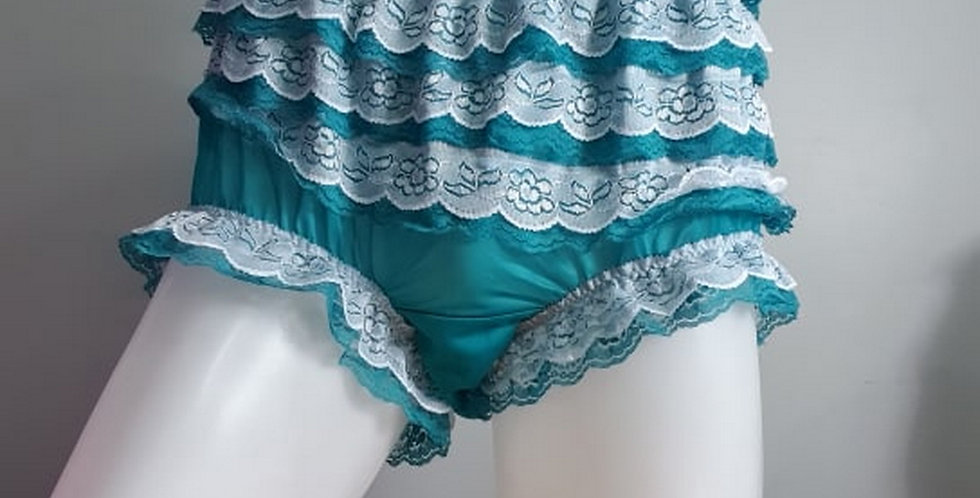Green sheer nylon underwear for men Panties Ruffle Briefs Lacy Handmade NH36D02