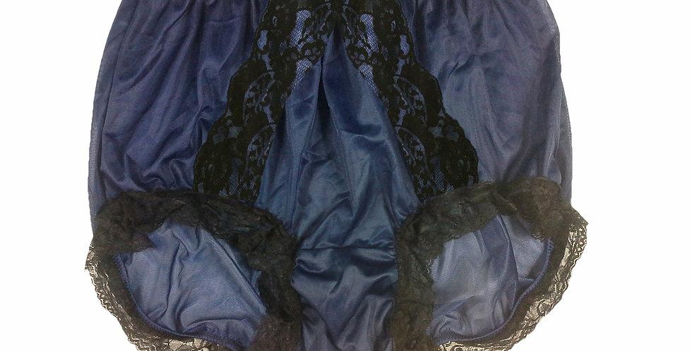NNH15D02 Navy Blue Handmade Panties Lace Women Men Briefs Nylon Knickers