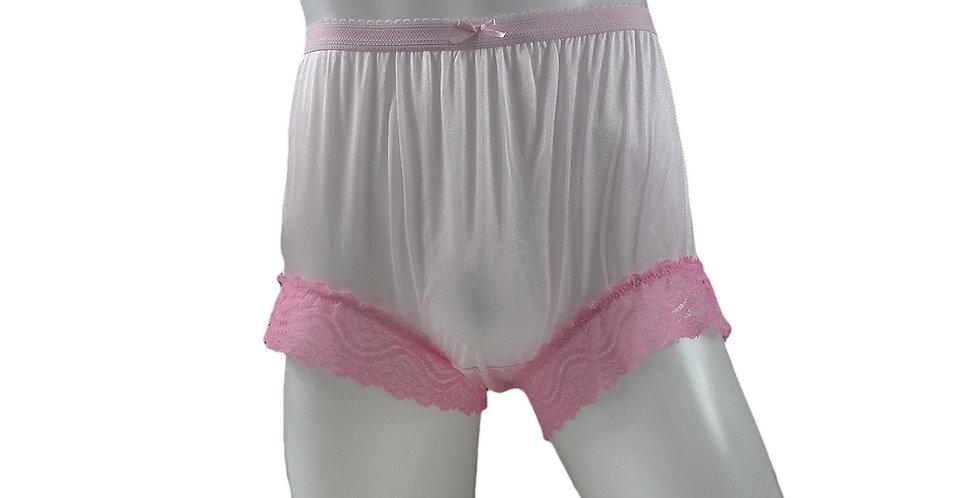 NYH04D02 Fair Pink Handmade New Panties Briefs Lace Sheer Nylon Men Women