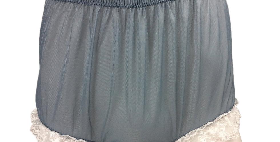 NH01D09 Grey Handmade Panties Lace Women Men Briefs Nylon Knickers