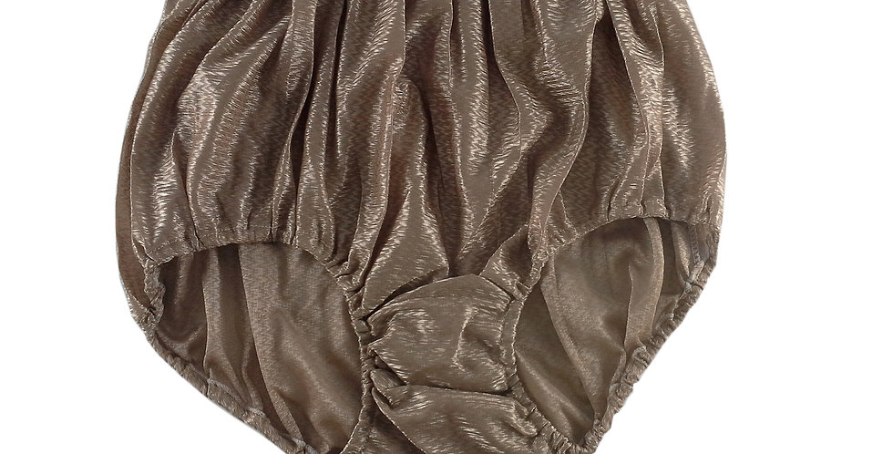 SF04 Brown Silky Nylon Panties Women Vintage Granny HI-CUTS Briefs