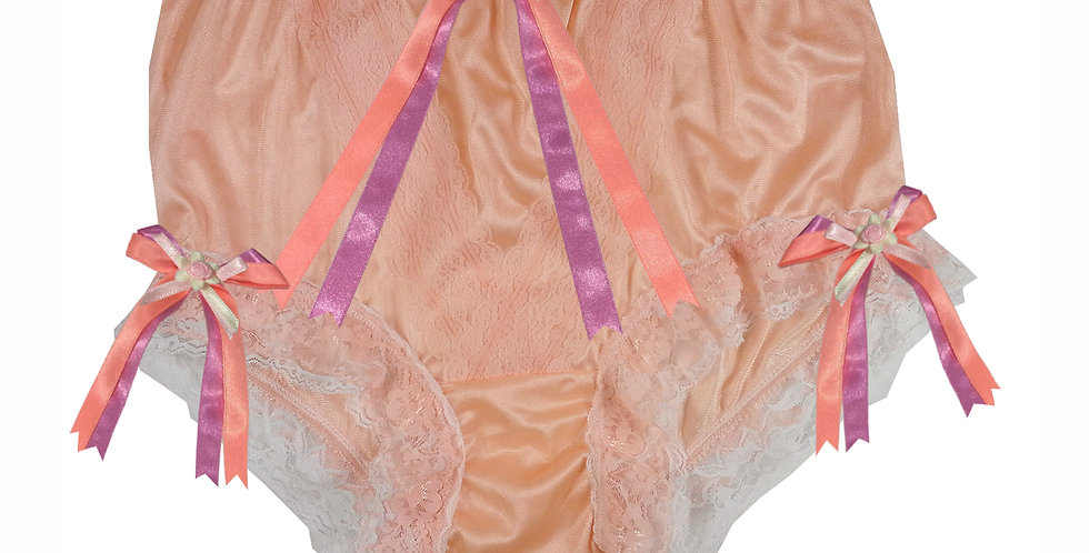 NLH22D02  Orange New Panties Granny Lace Briefs Nylon Handmade  Men