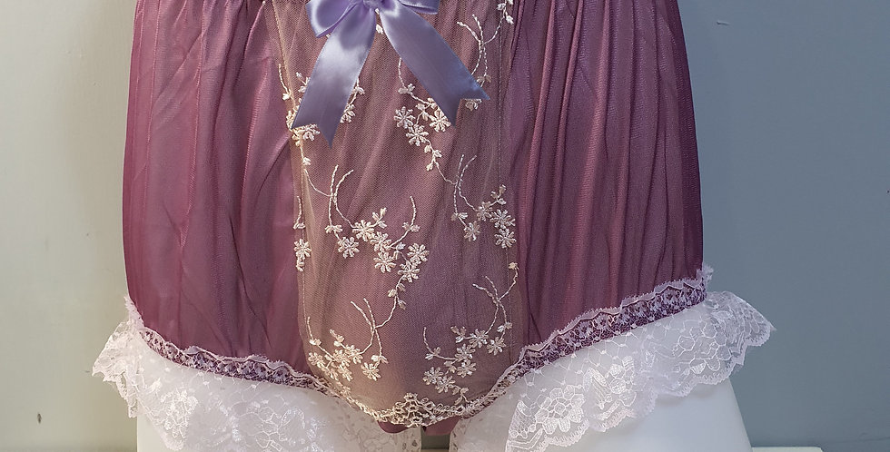 New Deep Pink Nylon Briefs Men Panel Floral Lace Panties Handmade Knickers NPN11