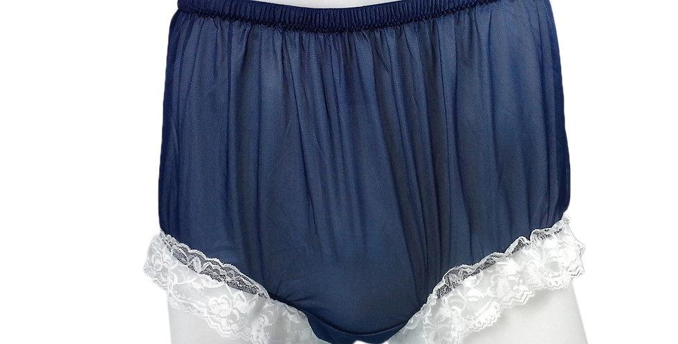 NH01D13 Navy Blue Handmade Panties Lace Women Men Briefs Nylon Knickers