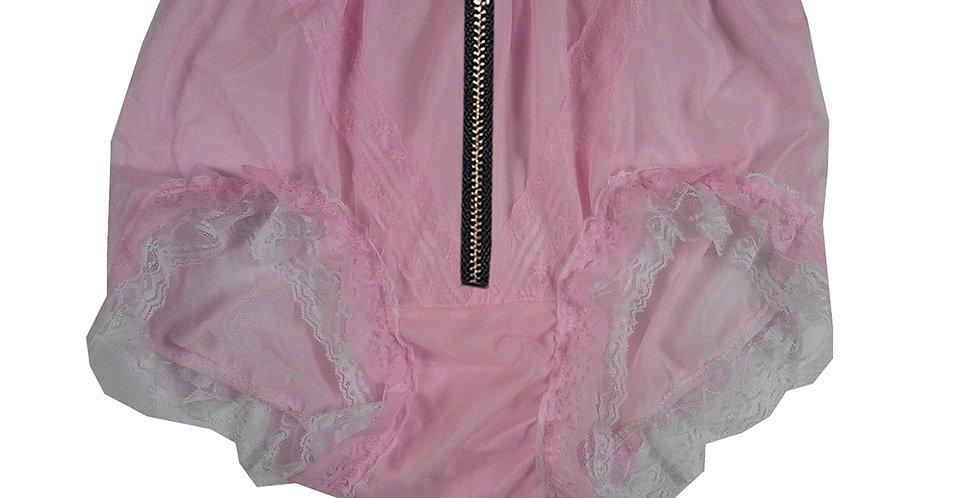 SSH23DI08 Pink Zipper Handmade Nylon Panties Lace Women Granny Men Briefs