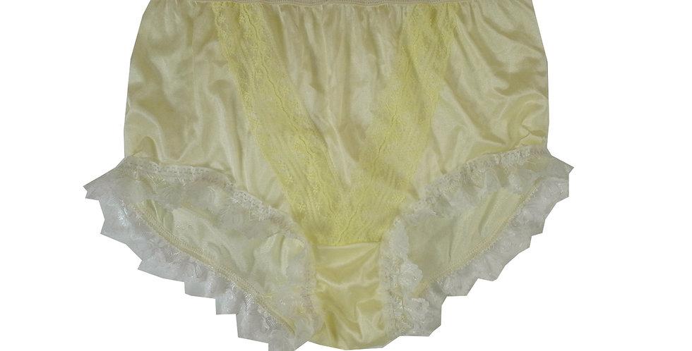NLH24D01 Fair Yellow New Panties Granny Lace Briefs Nylon Handmade  Men