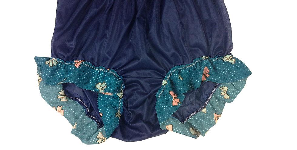 New Deep Blue Underwear Nylon Panties Briefs Men Handmade Cotton Lacy NNH27C08