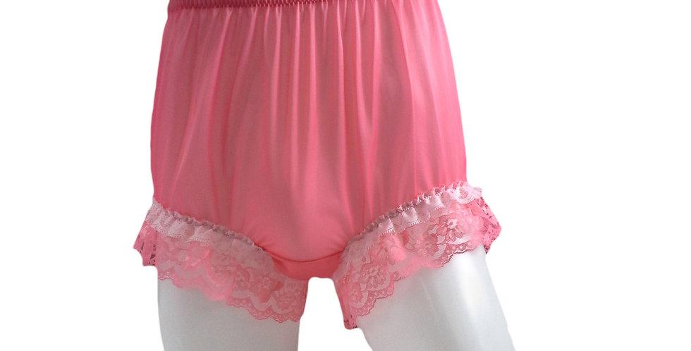 NNH05D01 Light Pink Handmade Panties Lace Women Men Briefs Nylon Knickers