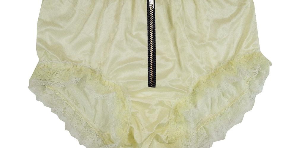NQH23DI01 Yellow Zipper New Panties Granny Briefs Nylon Handmade Lace Men
